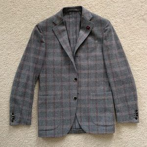 NWOT Lardini Tweed Wool Gray Blazer Size 36R